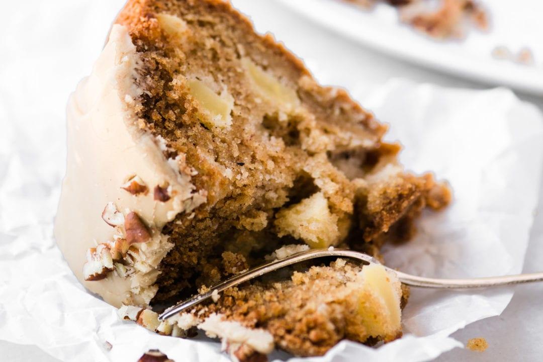 a piece of caramel apple bundt cake