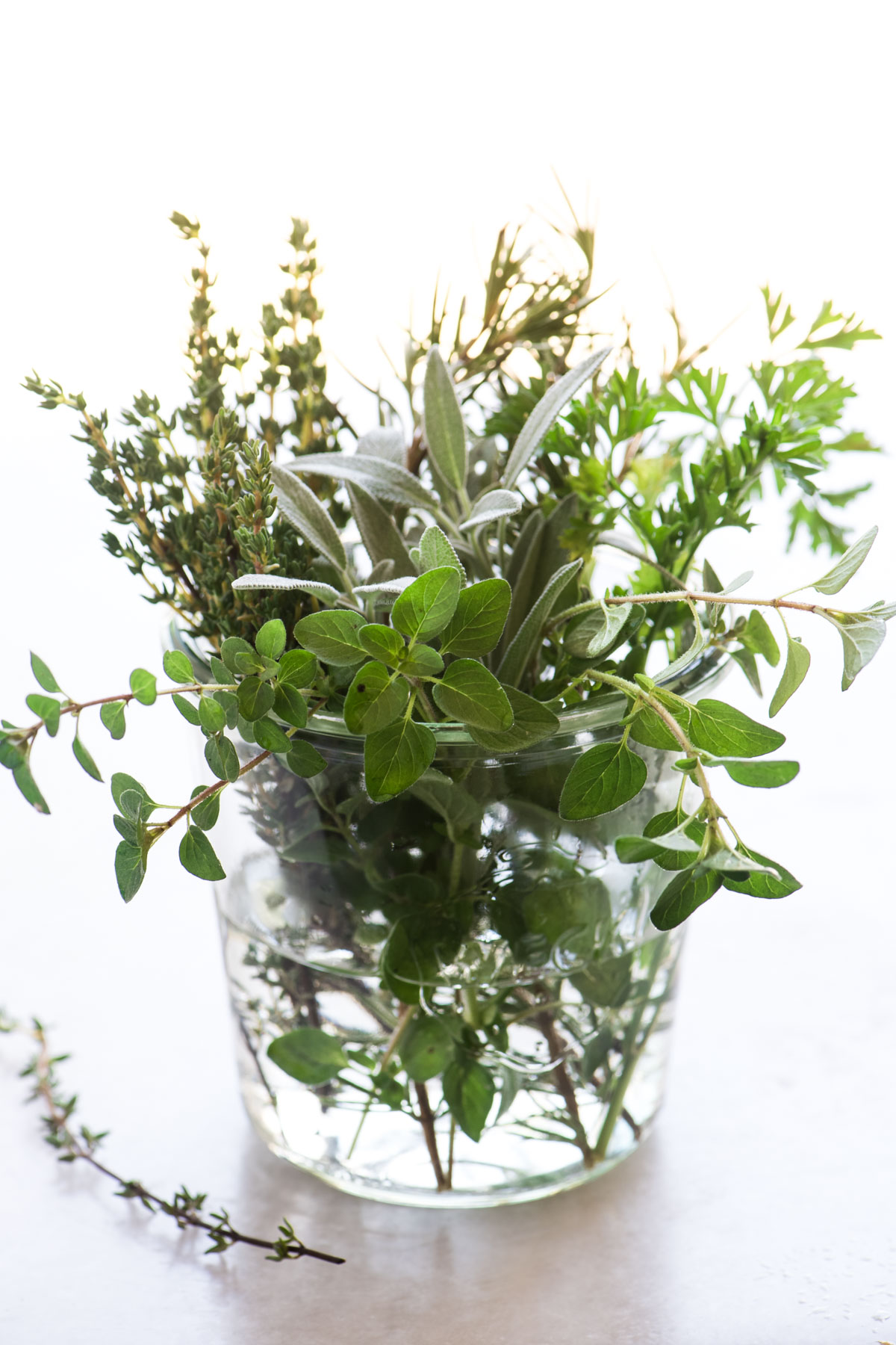 Fresh herbs in a glass jar