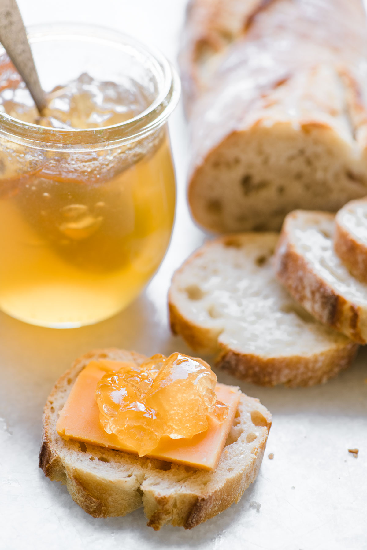 Mulled apple cider jelly with cheese and bread