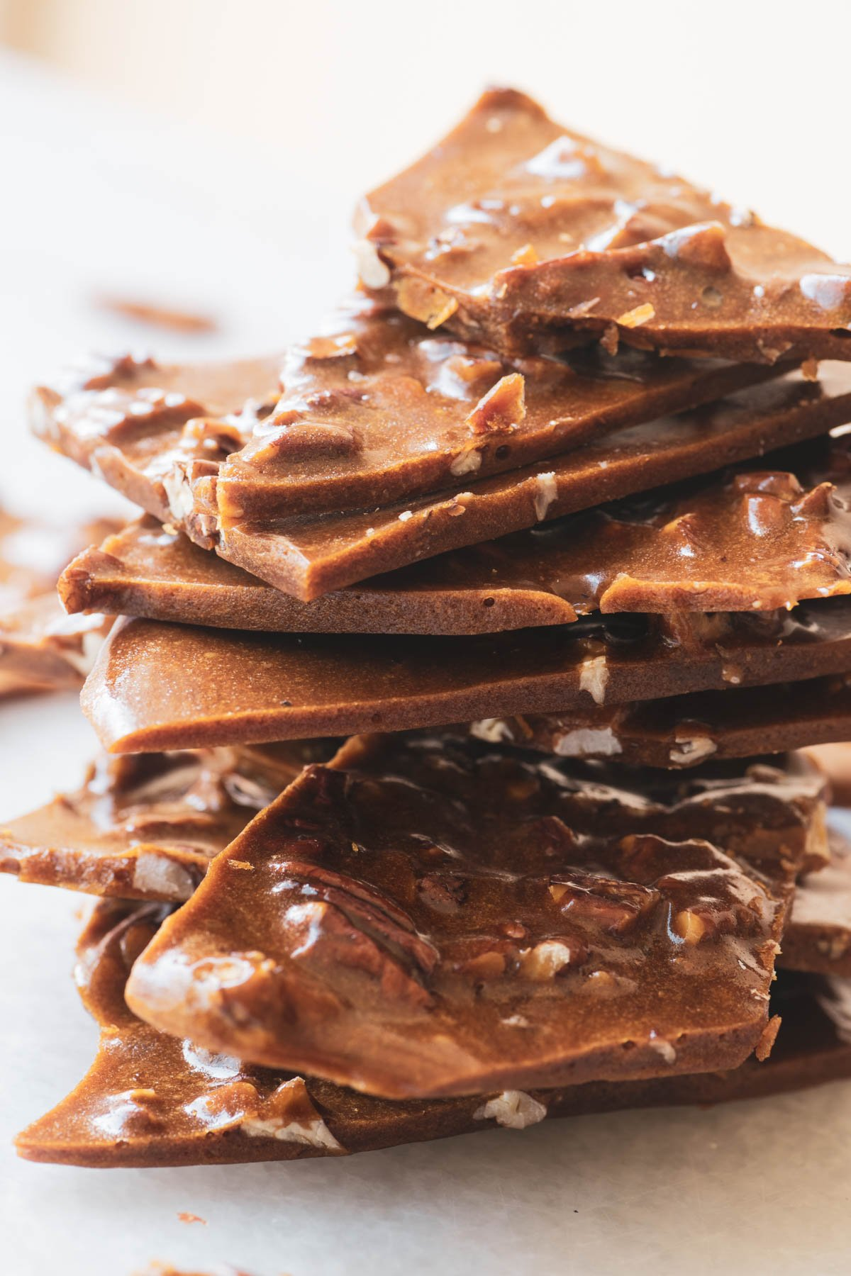 a stack of maple pecan brittle