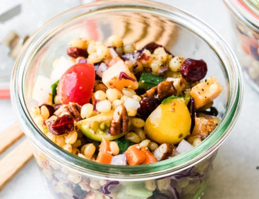 wheat berry salad in a glass jar