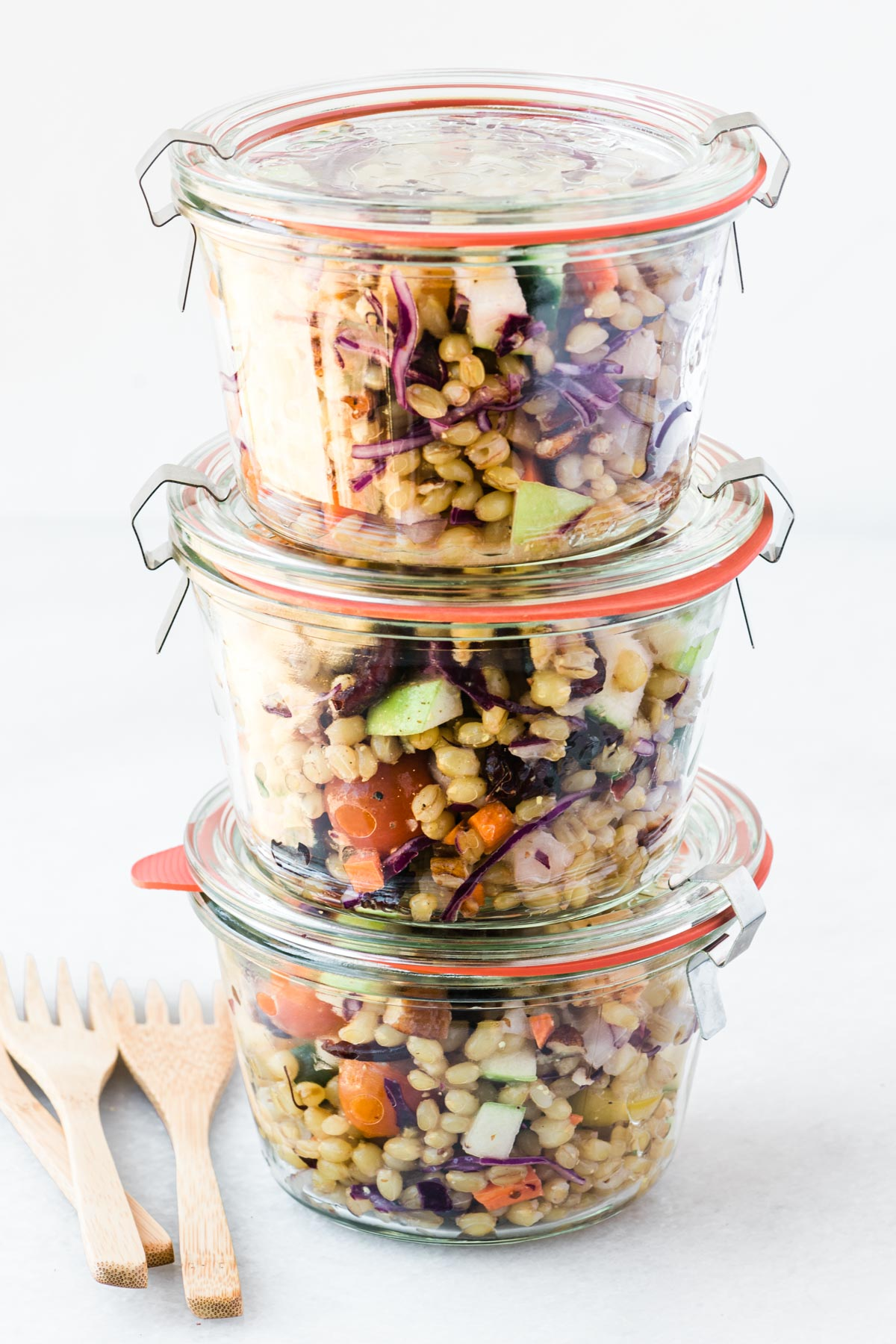 Wheat berry salad in glass jars