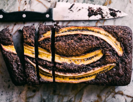 double chocolate banana bread on a marble surface
