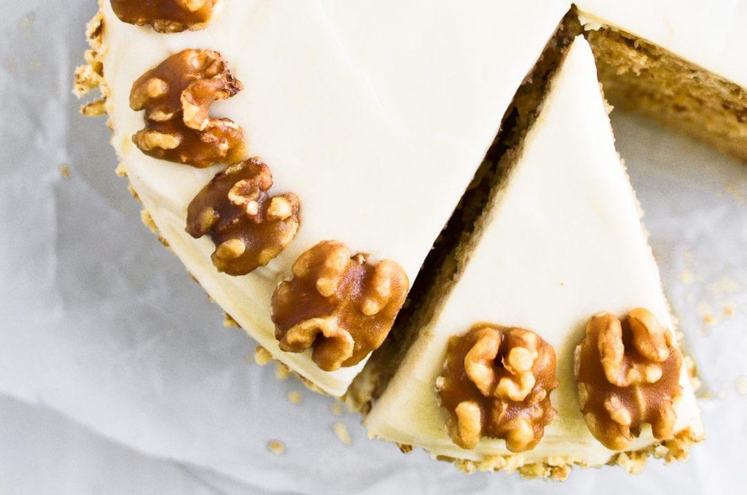maple walnut cake, sliced