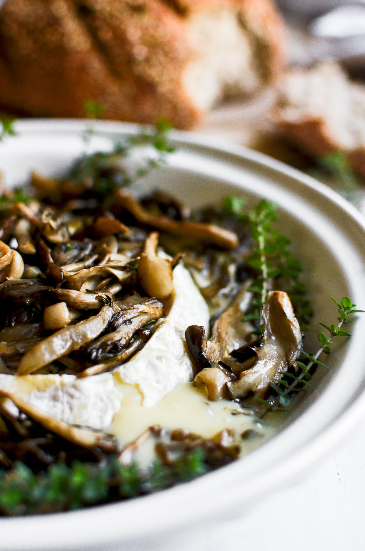 wild mushroom and hazelnut baked brie in a pie dish