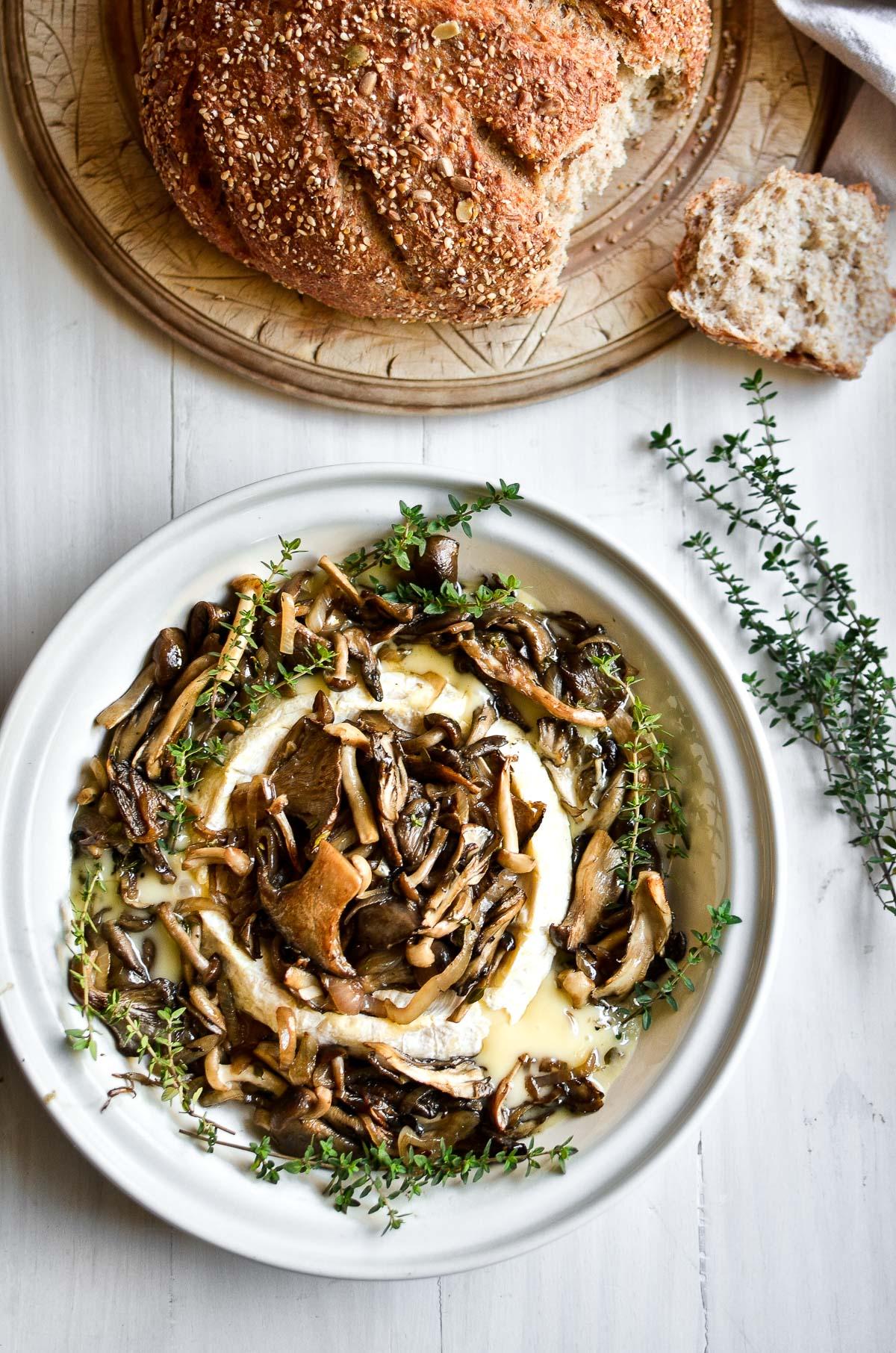 Mushroom and Hazelnut Baked Brie