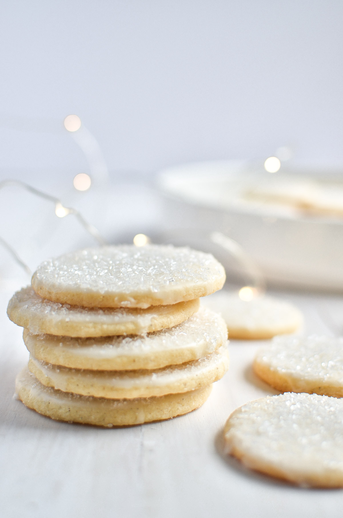a stack of New Fallen Snow Shortbread Cookies