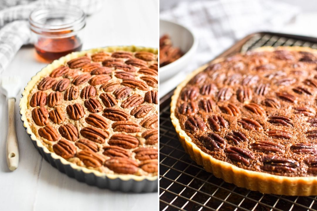 Maple frangipane pecan pie before and after baking