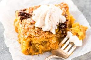 Pumpkin Crunch Cake with fork