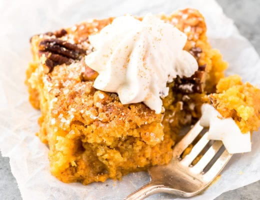 Pumpkin Crunch Cake with fork