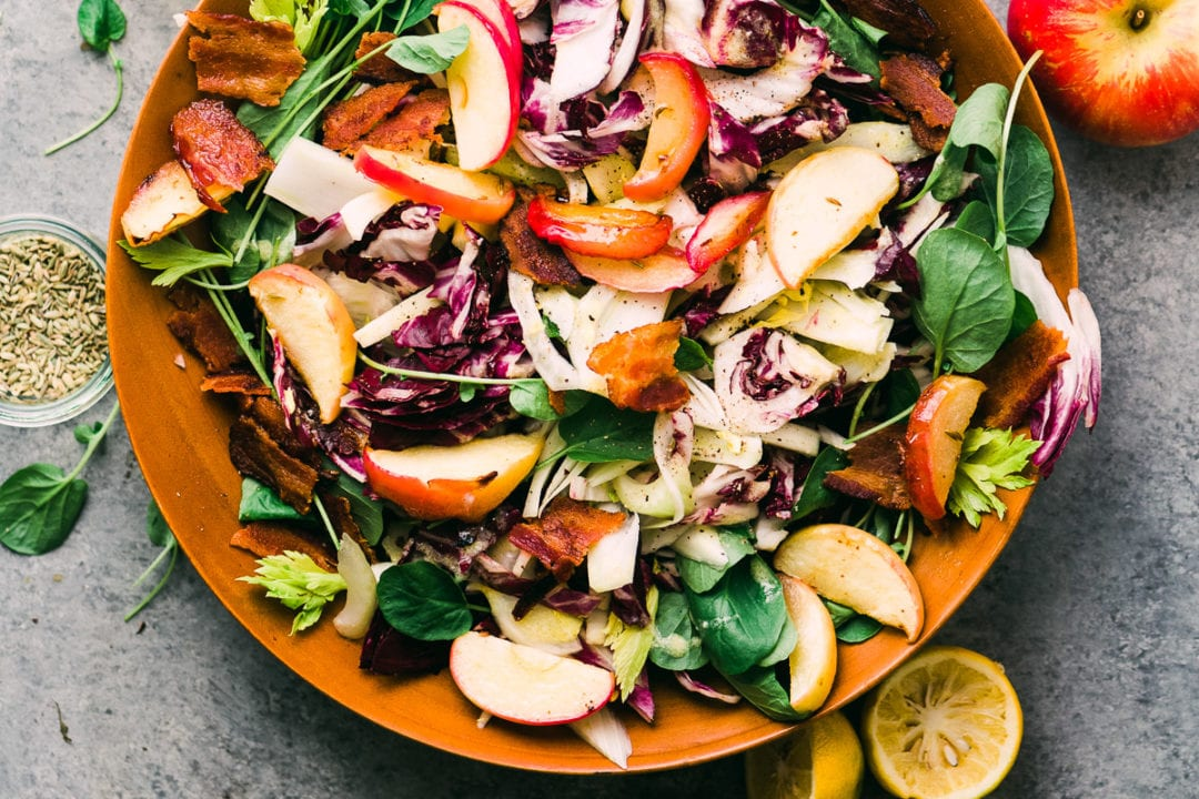 roasted apple and radicchio salad in a bowl