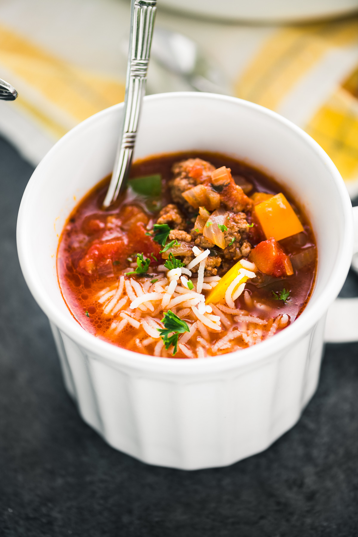 stuffed pepper soup in a white mug