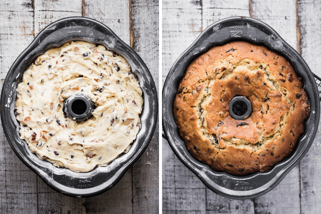 before and after cooking a Christmas bundt cake
