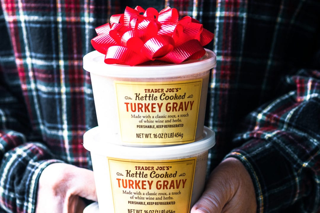 Trader Joe's Host Gifts, turkey gravy with bow