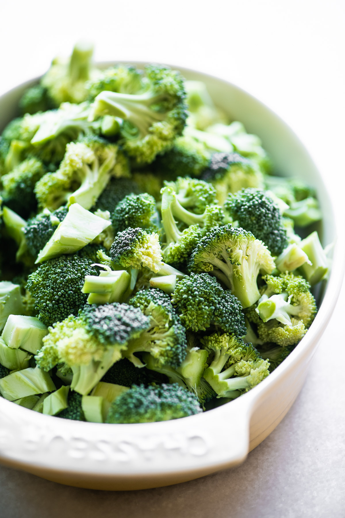 Fresh broccoli florets for broccoli cheese casserole