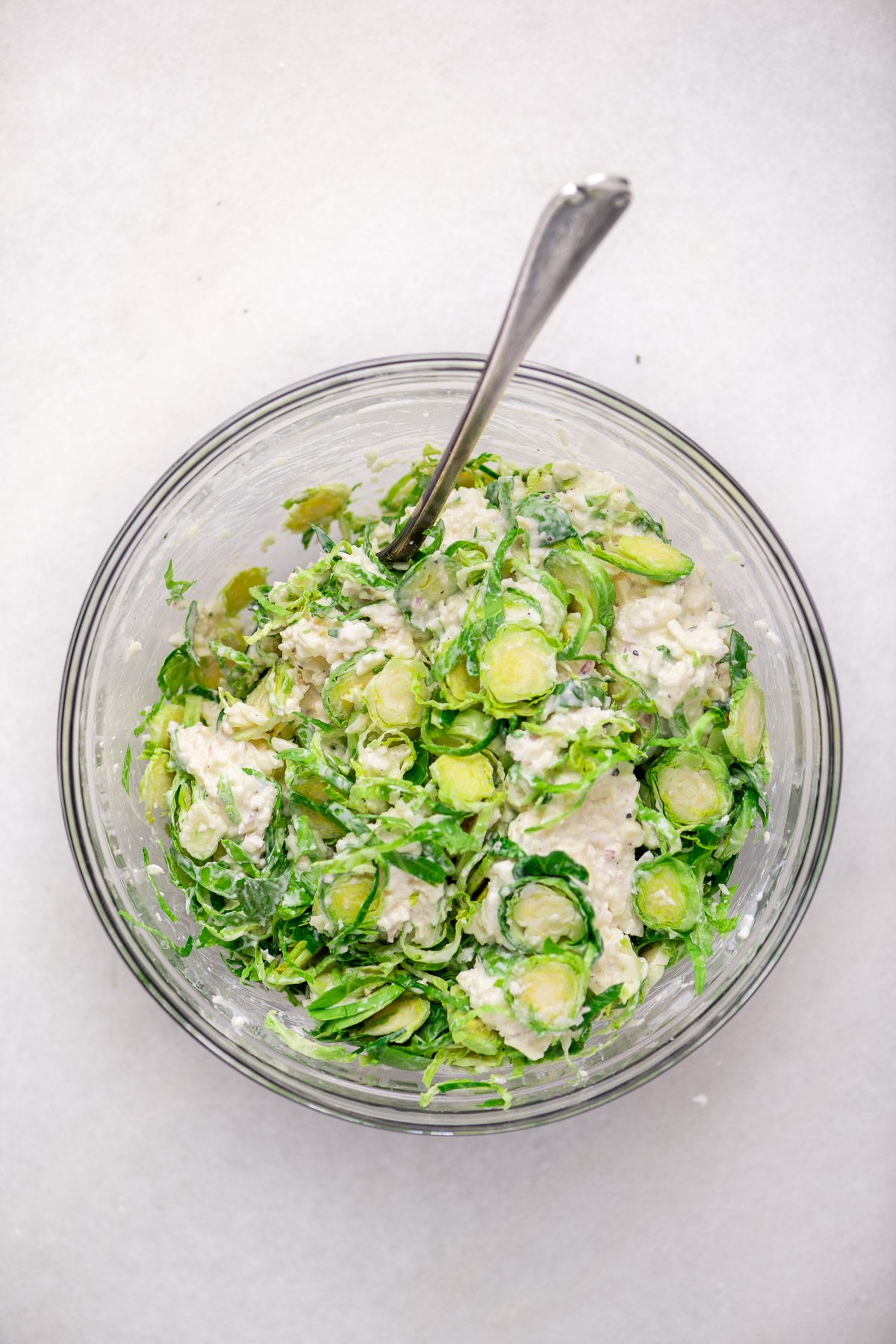 Mixing up a baked Brussels sprout dip