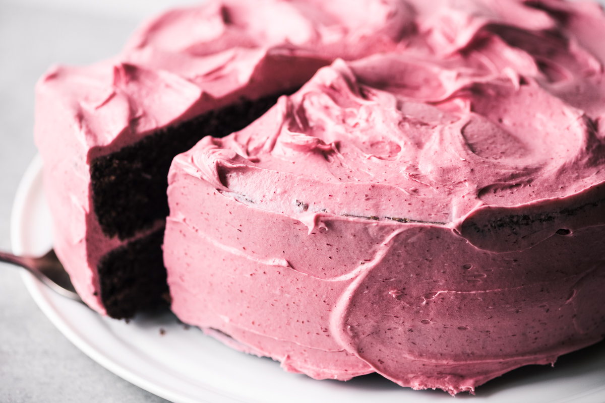 cake frosting with cranberry buttercream