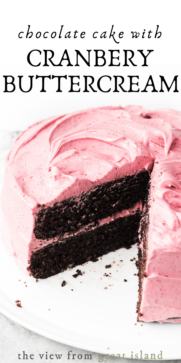 chocolate cake with cranberry buttercream pin