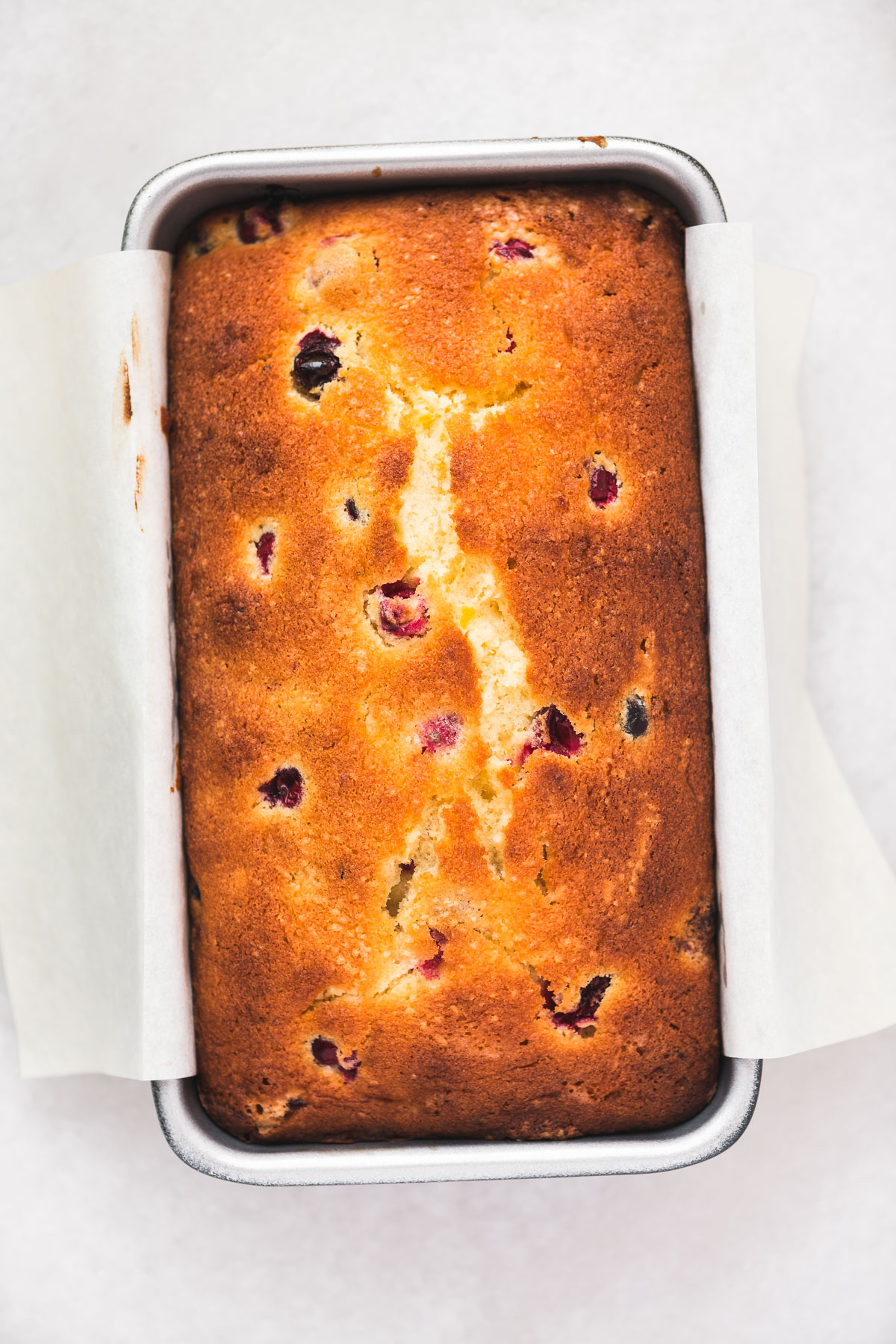 cranberry orange bread just out of the oven