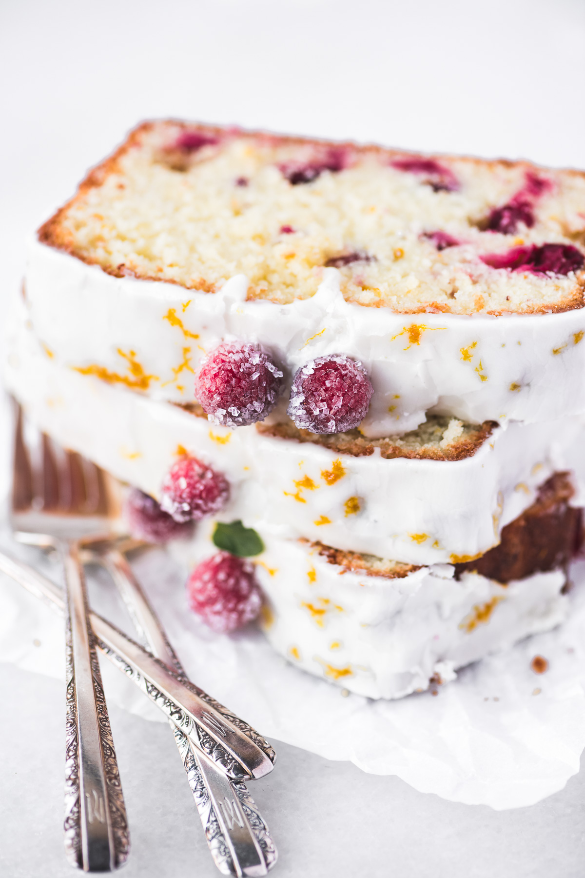 slices of cranberry orange bread, stacked