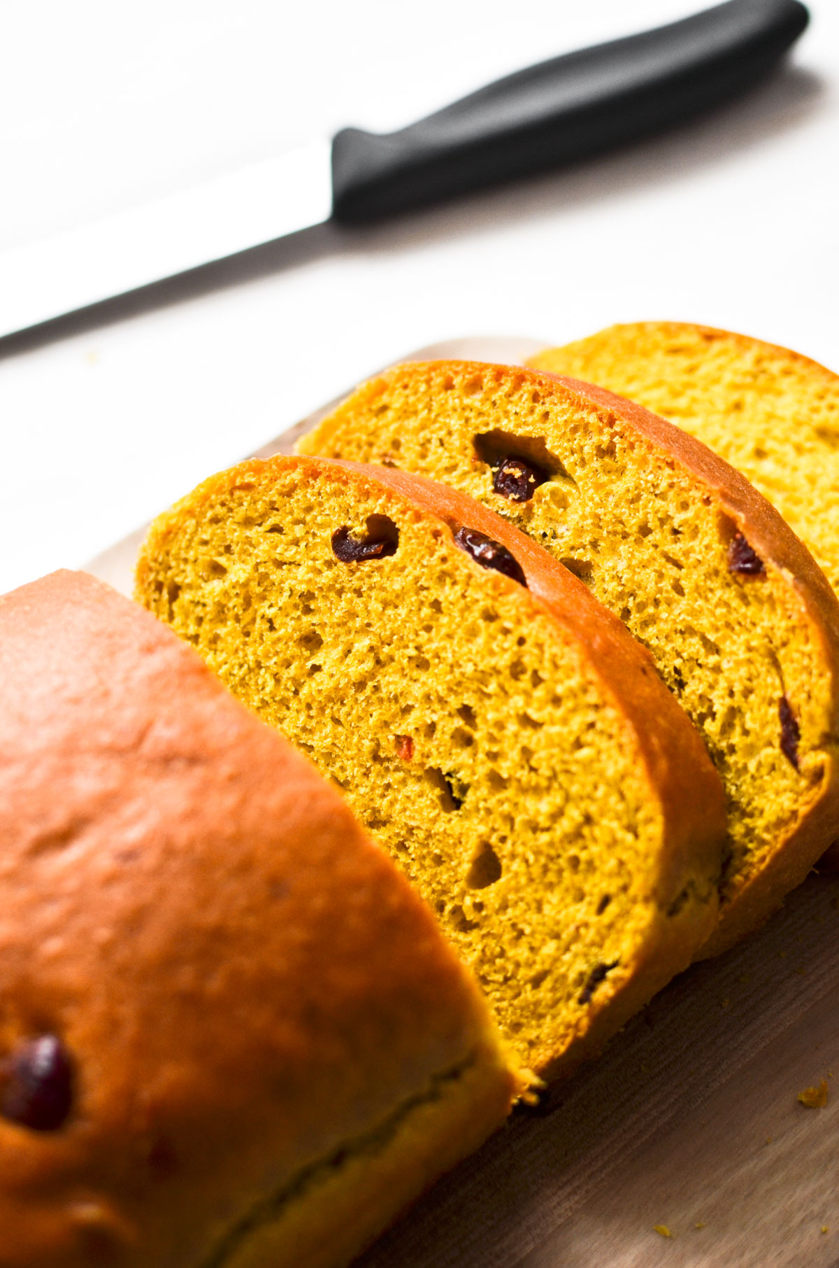 cranberry pumpkin loaf bread, sliced