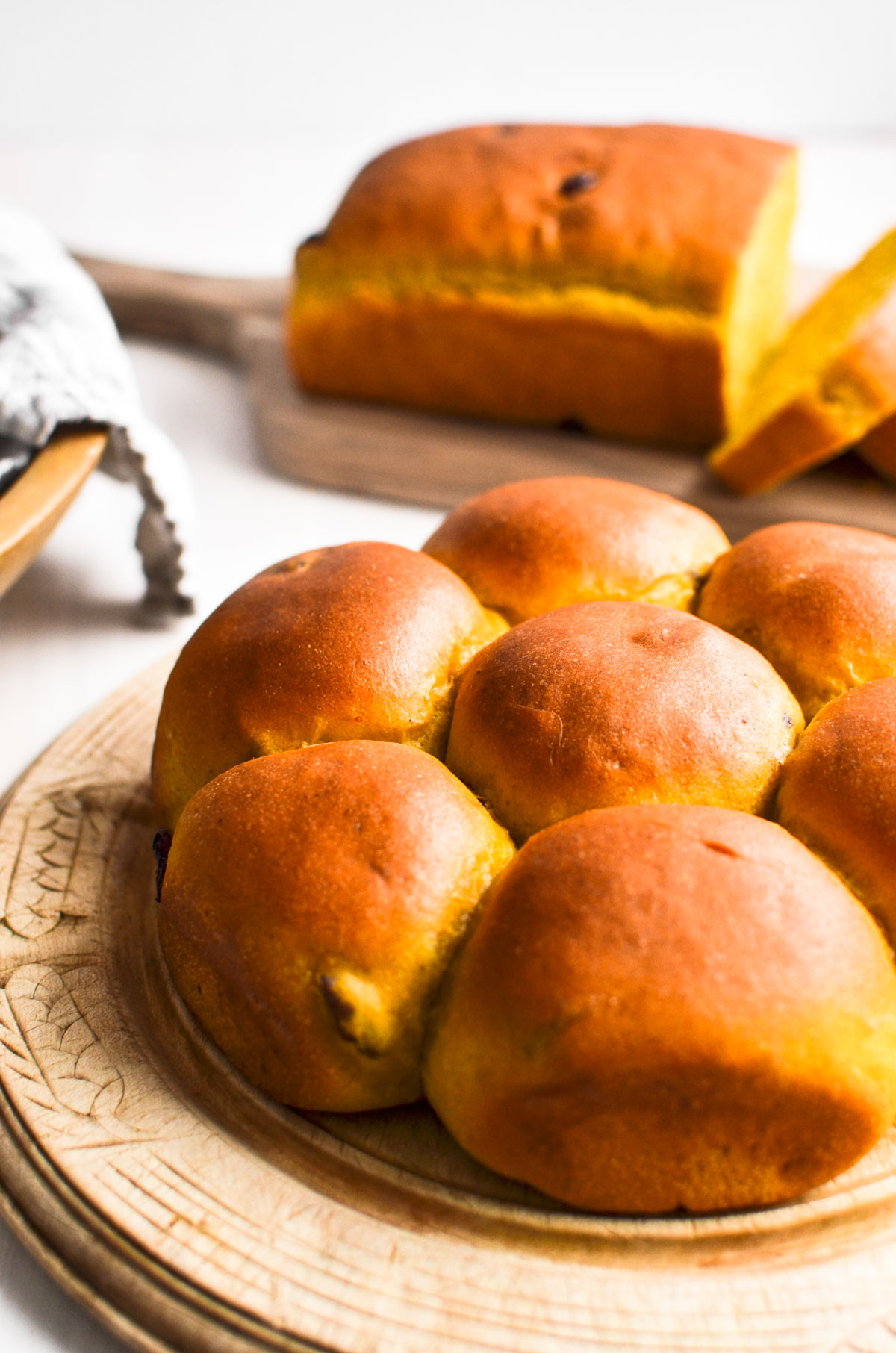Cranberry pumpkin dinner rolls, and in loaf form, too