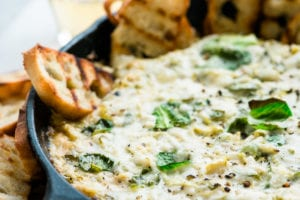 Cheesy Brussels Sprout dip in a skillet