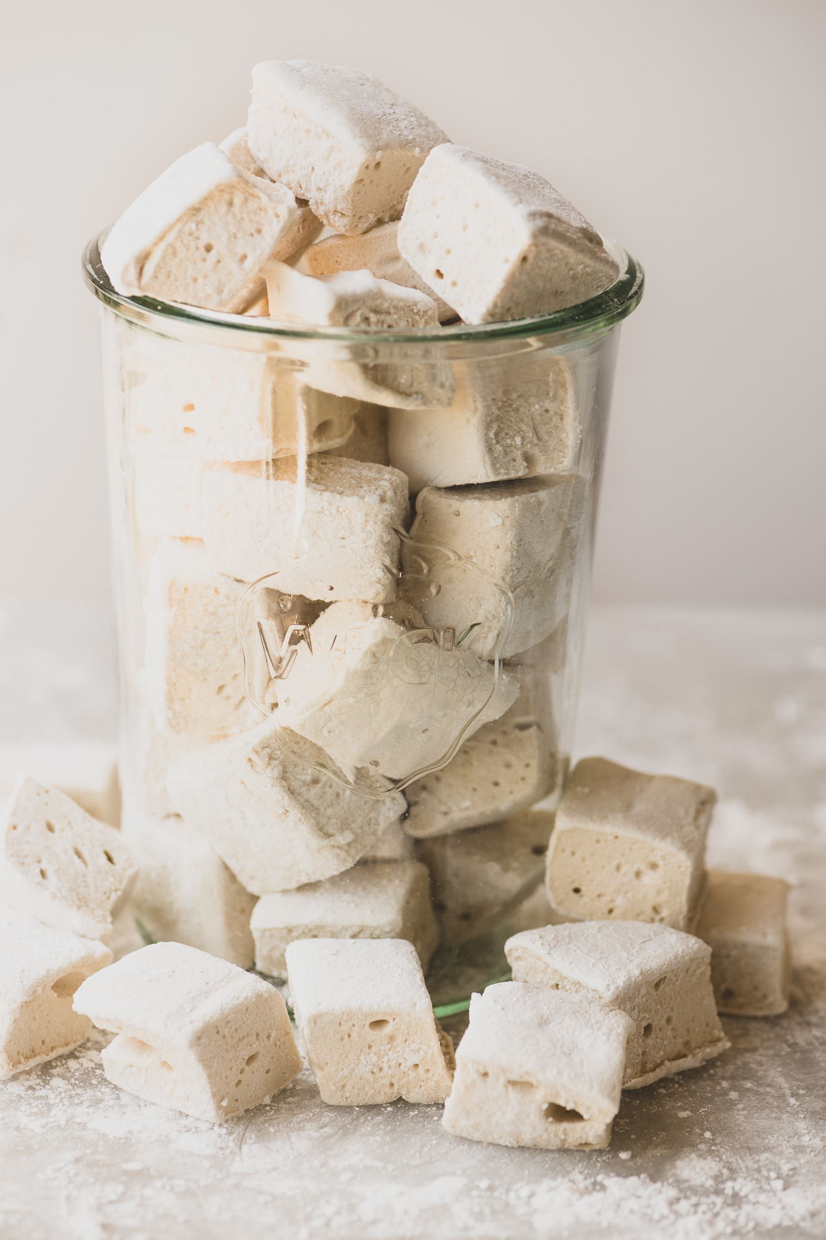 homemade maple marshmallows in a jar