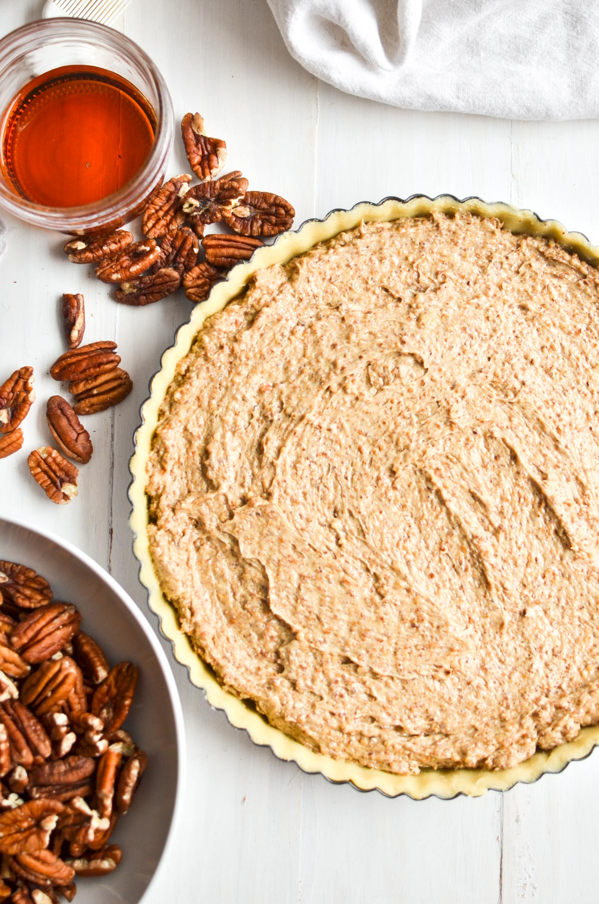 making a maple frangipane pecan pie