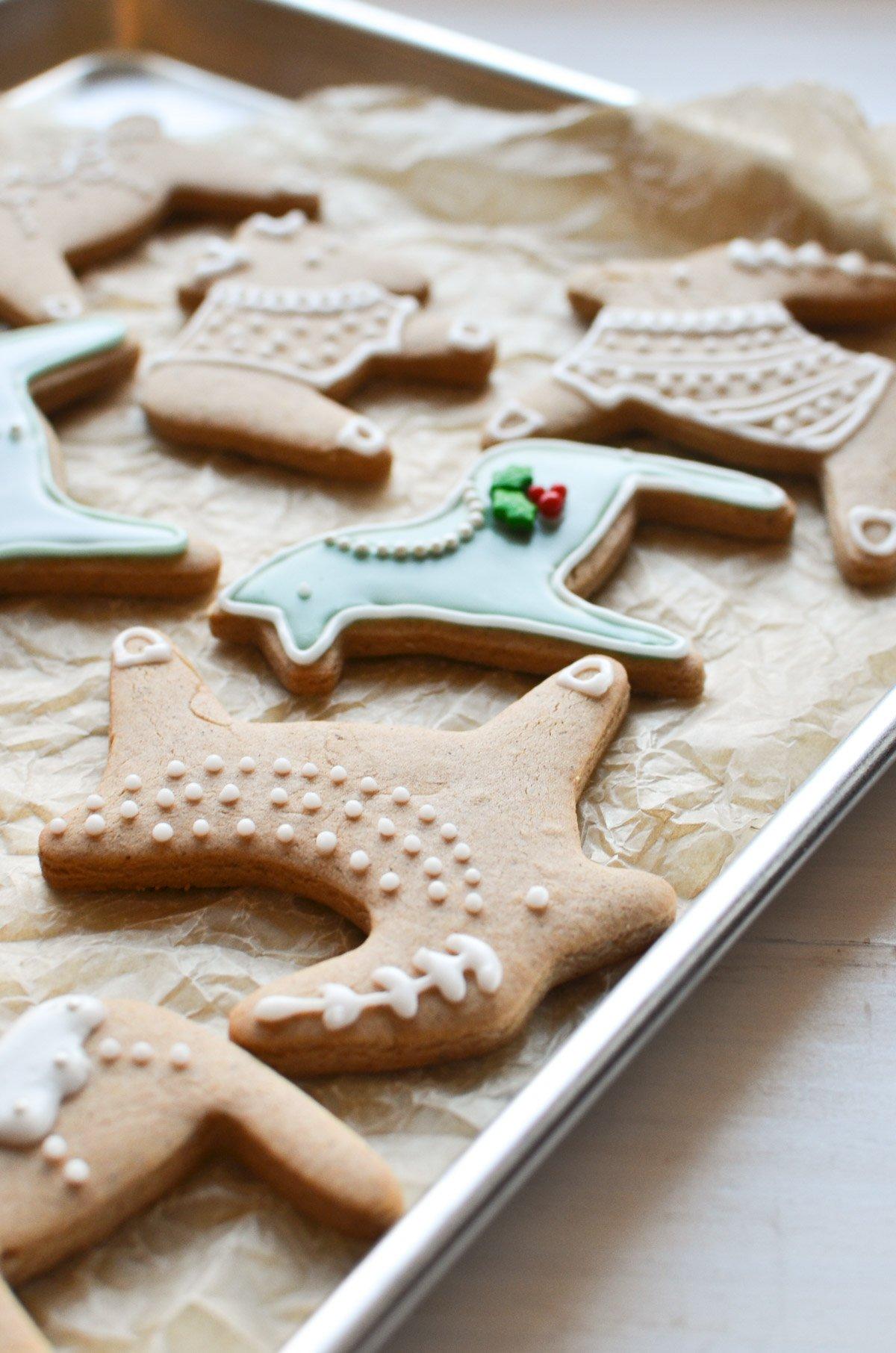 Pepparkakor cookies on a baking sheet