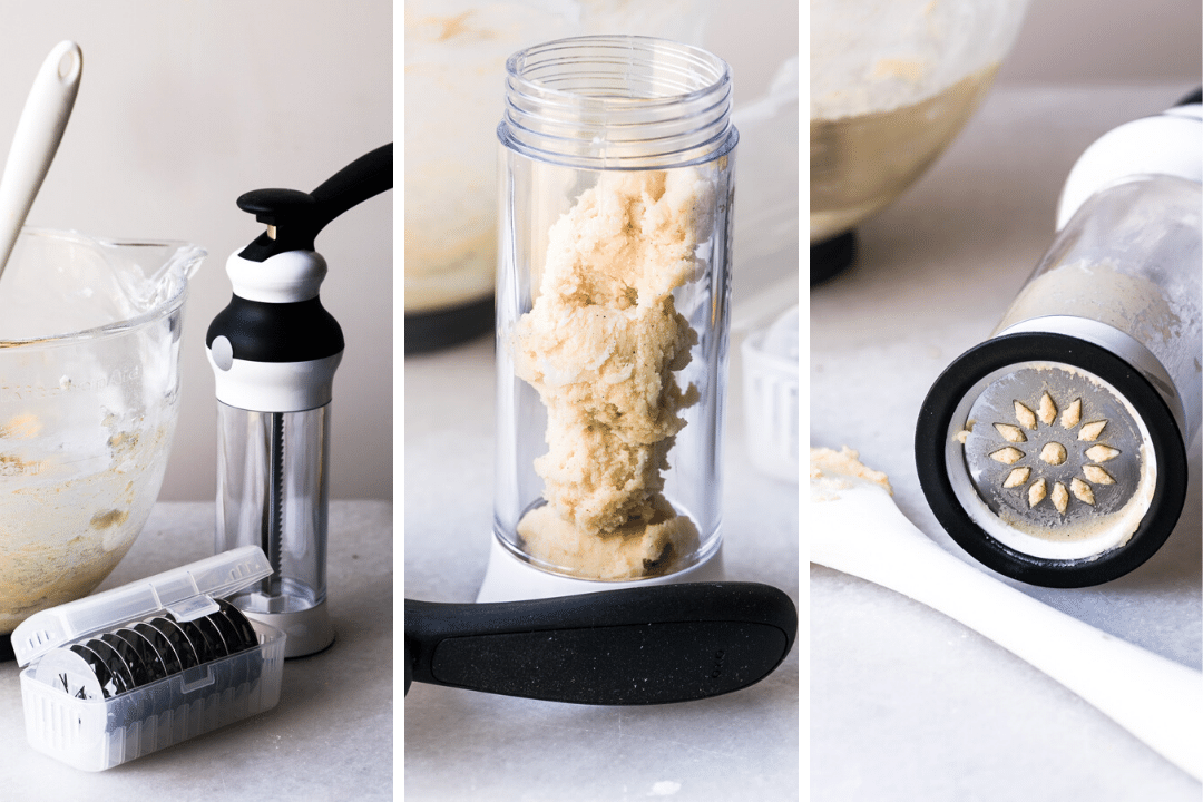 making spritz cookies with a cookie press