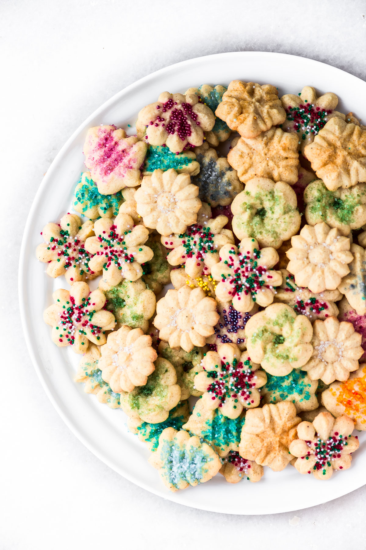 a large platter of spritz cookies