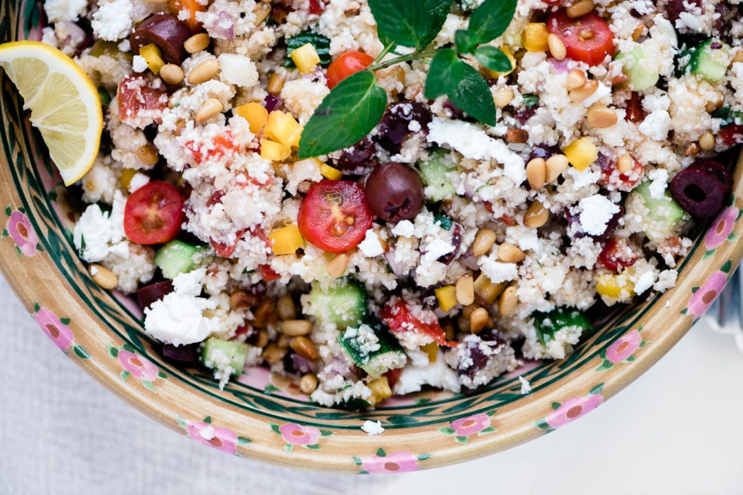 colorful and healthy gluten free cauliflower couscous salad