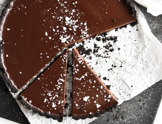 chocolate tart, sliced