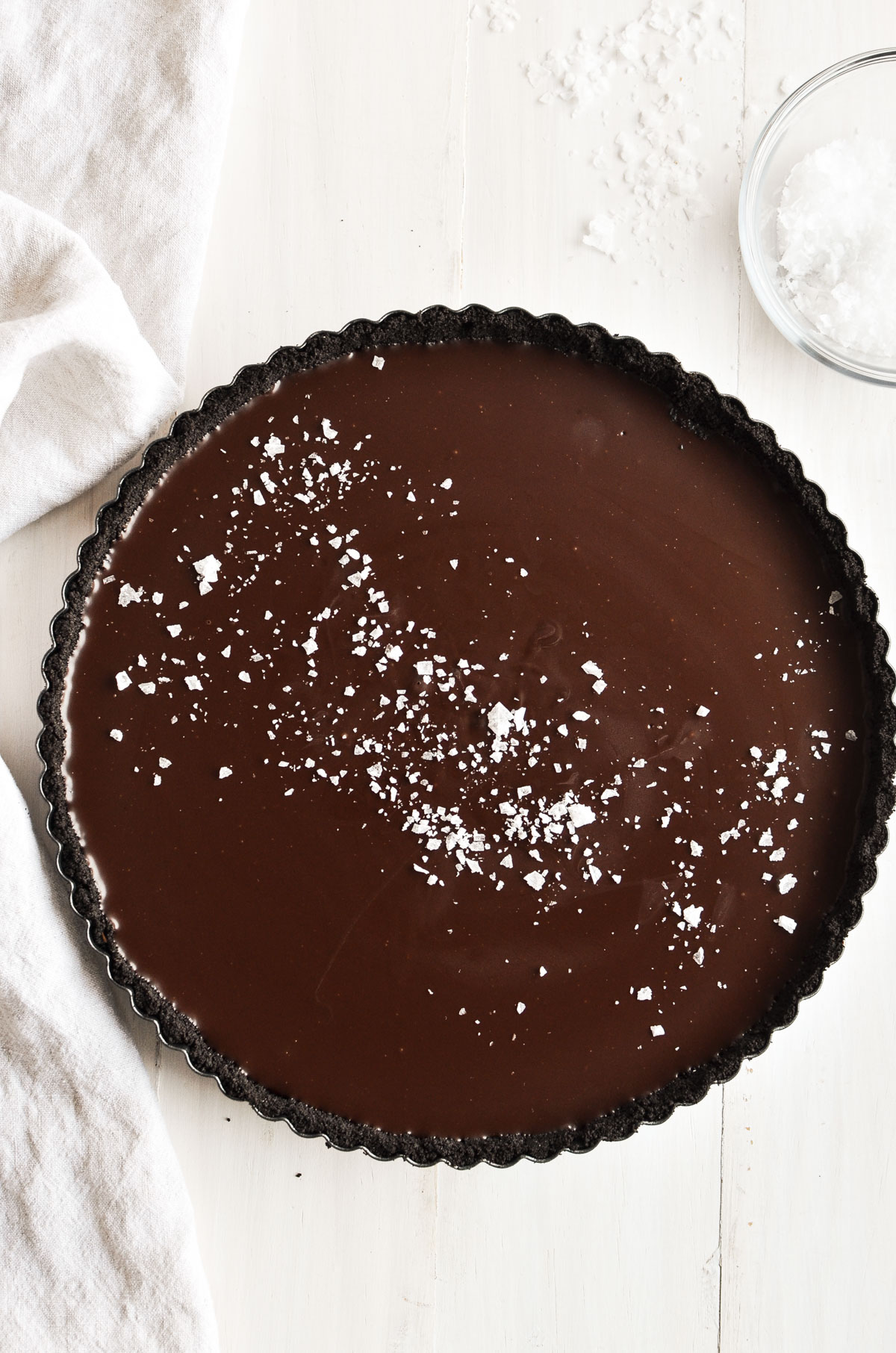 Dark Chocolate Truffle Tart with sea salt.