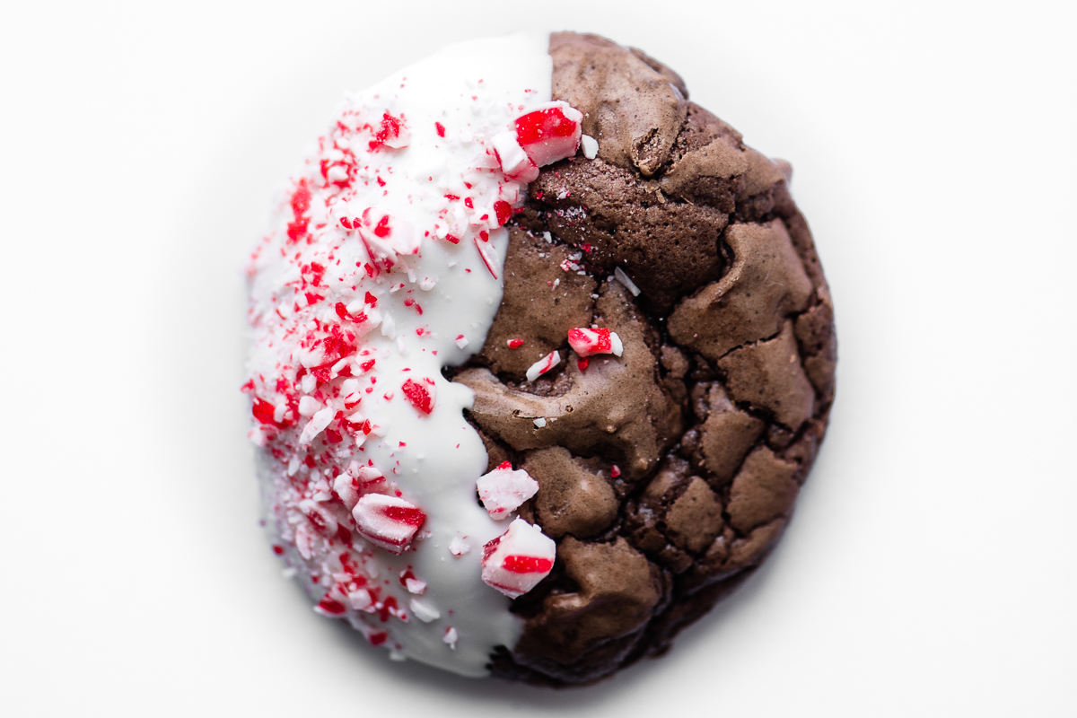 double chocolate peppermint dipped cookie, isolated