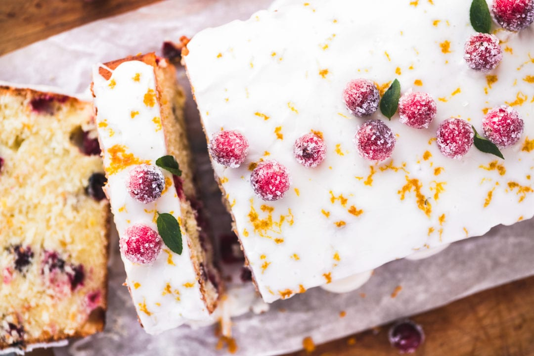 cranberry orange pound cake, sliced