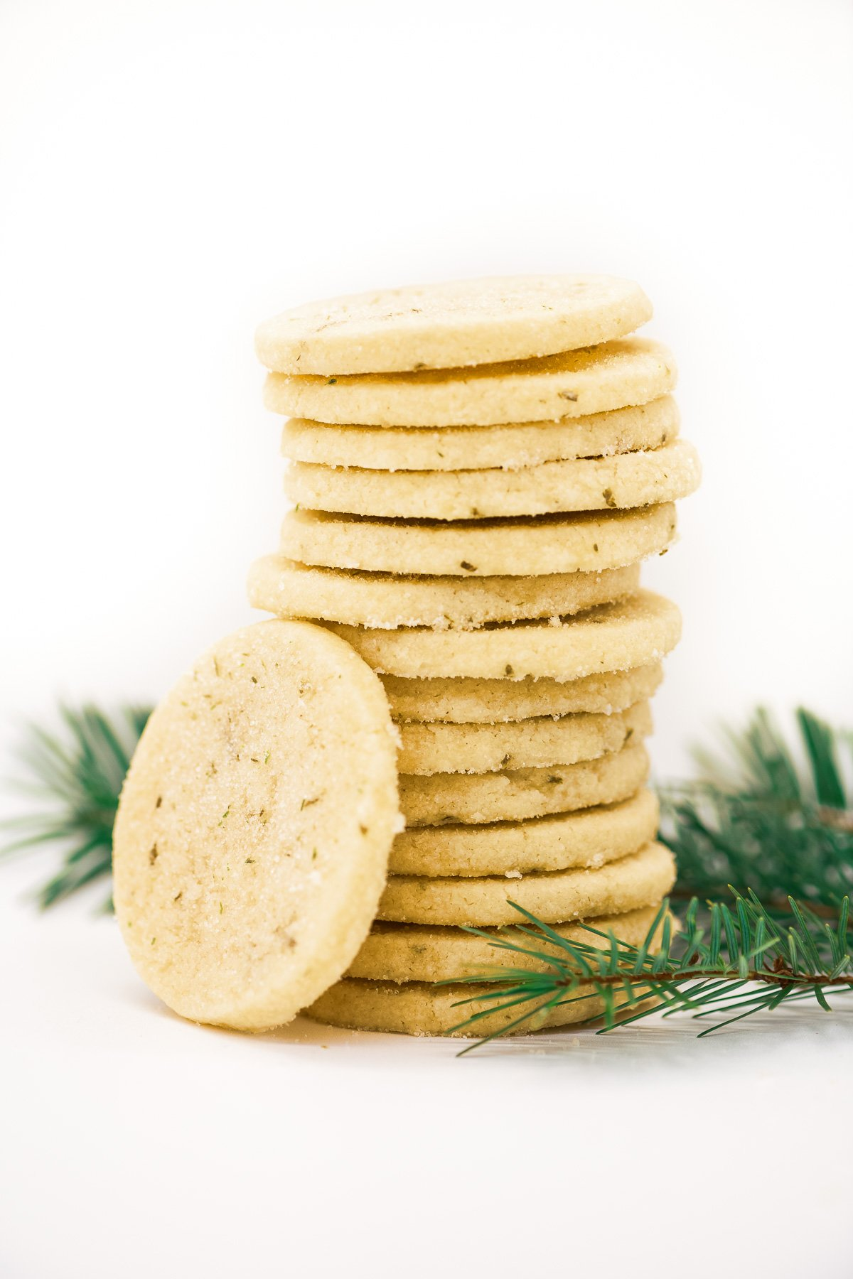 A stack of shortbread cookies made with fir needles