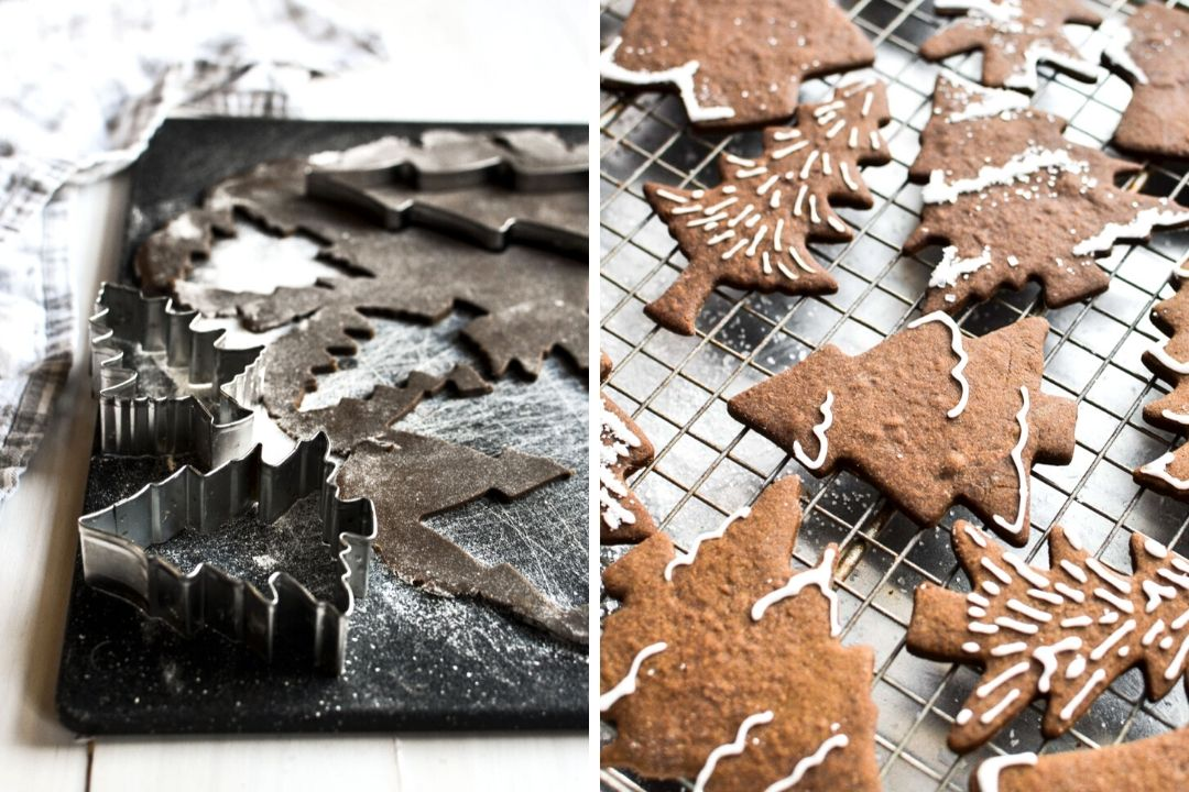 Making tree shaped gingerbread cookies