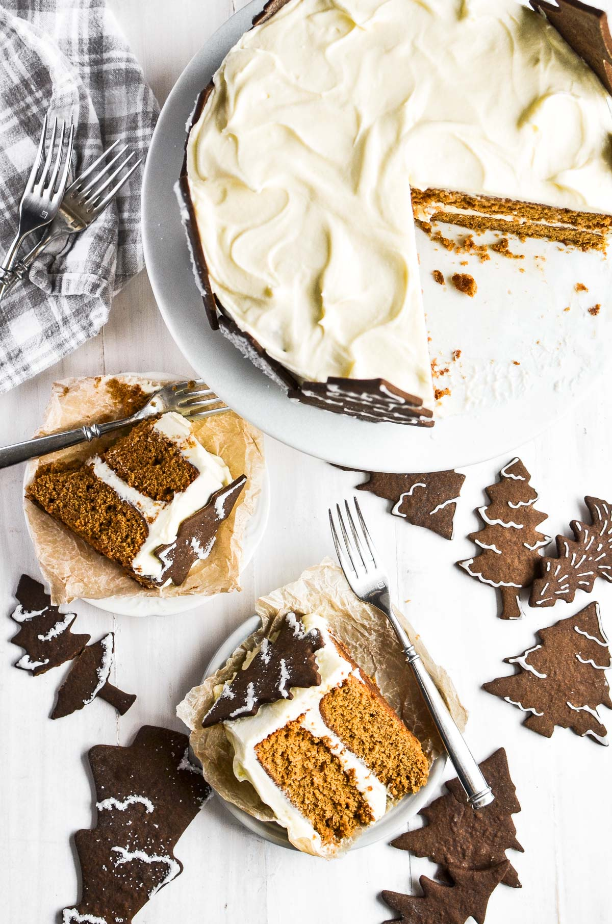 gingerbread layer cake with slices of cake on plates