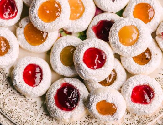 thumbprint jam cookies on a platter
