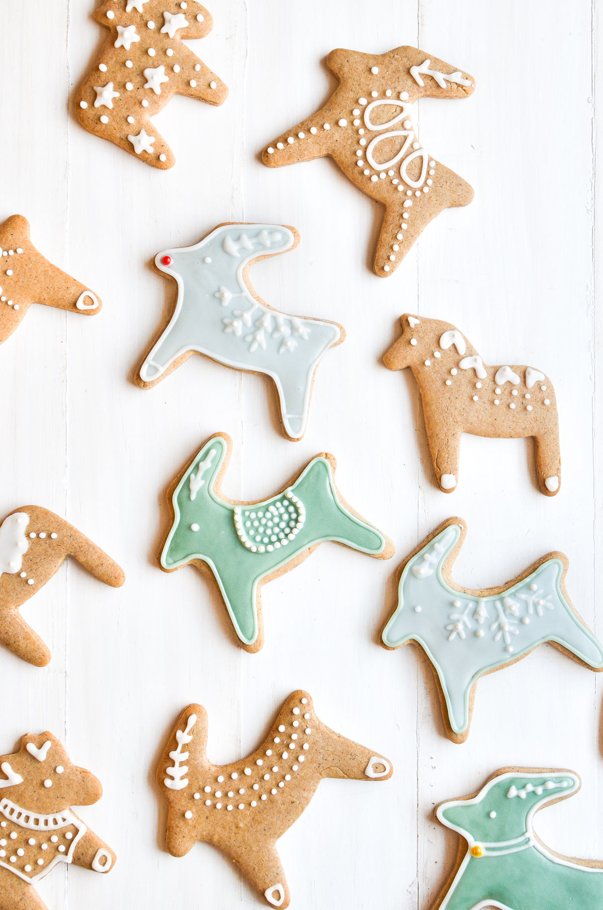Pepparkakor Cookies on a white wooden background.