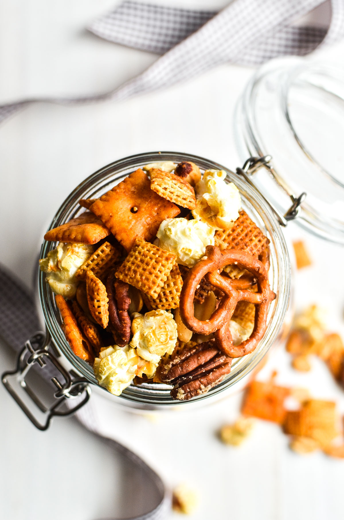 Chex snack mix in a mason jar