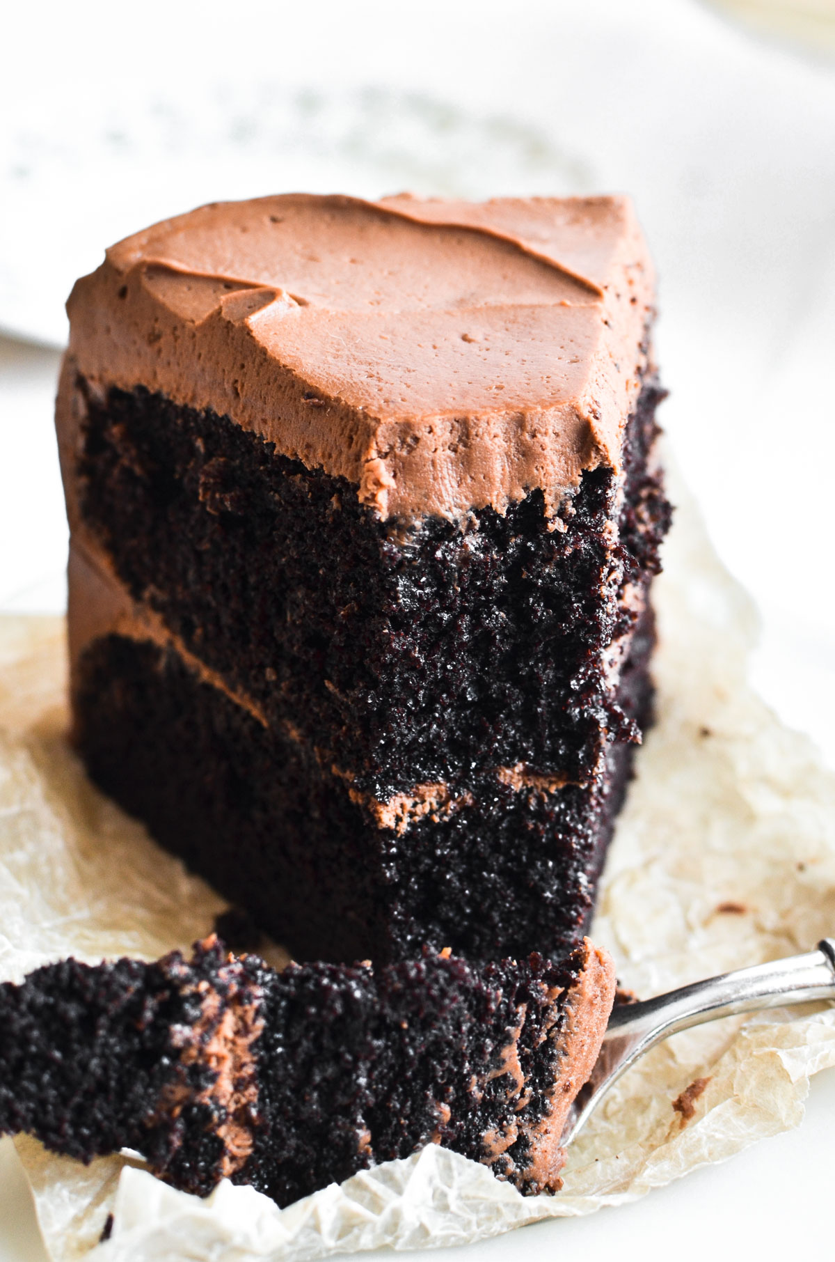 A slice of Ina Garten's Chocolate Cake with fork