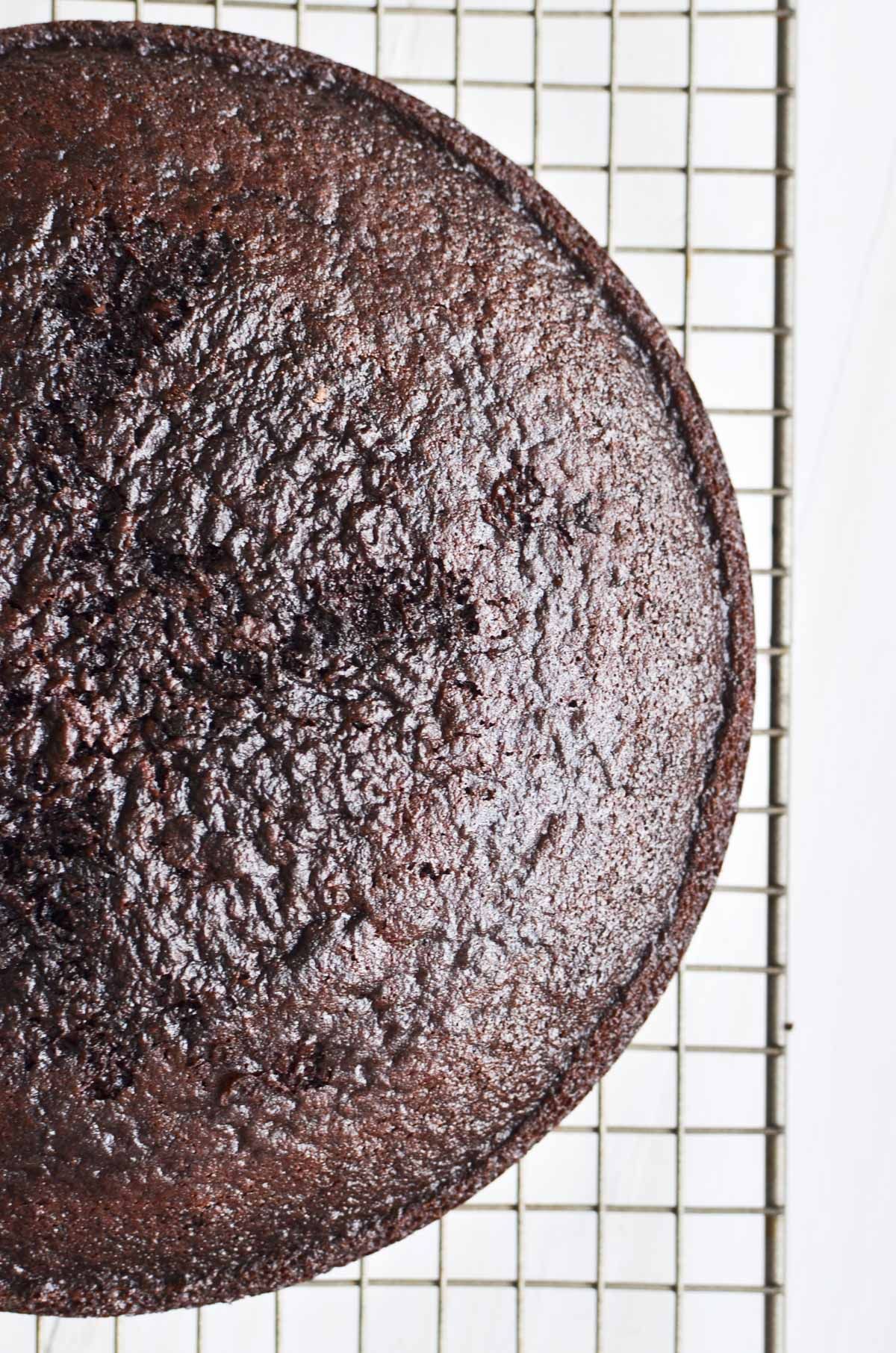 Ina Garten's Chocolate Cake cooling on a rack