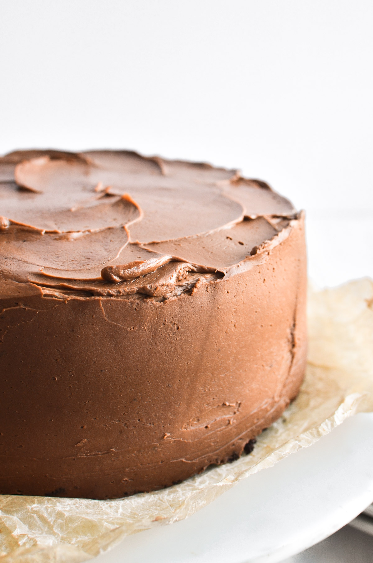 Chocolate layer cake with chocolate frosting.