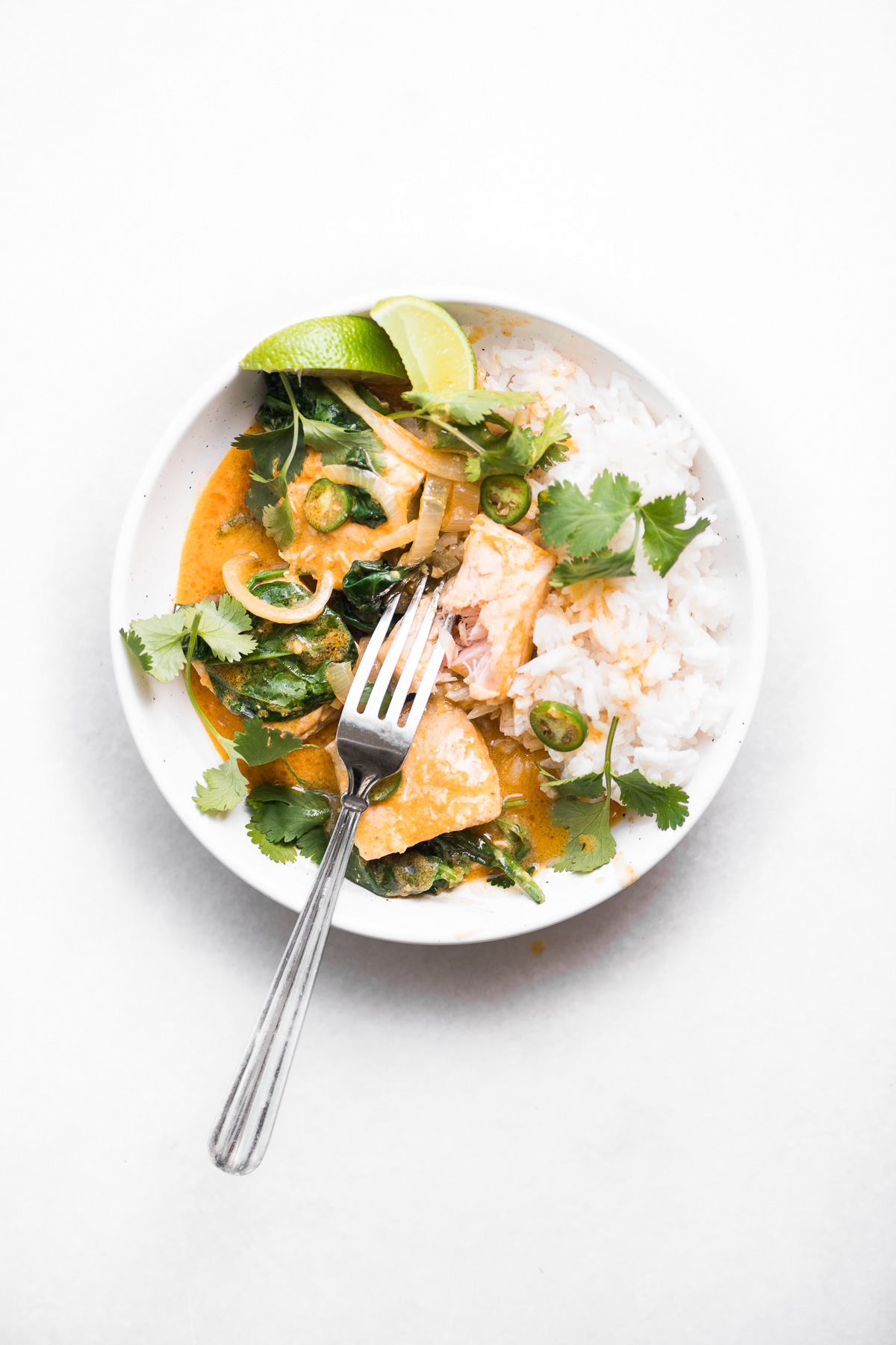 salmon coconut curry in a white bowl with herbs