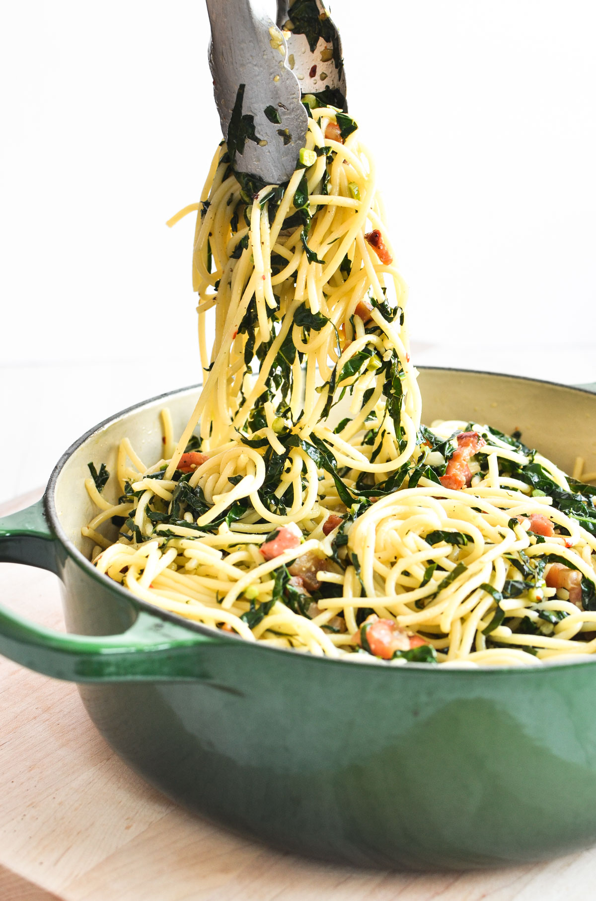 Serving Kale and Pancetta Pasta.
