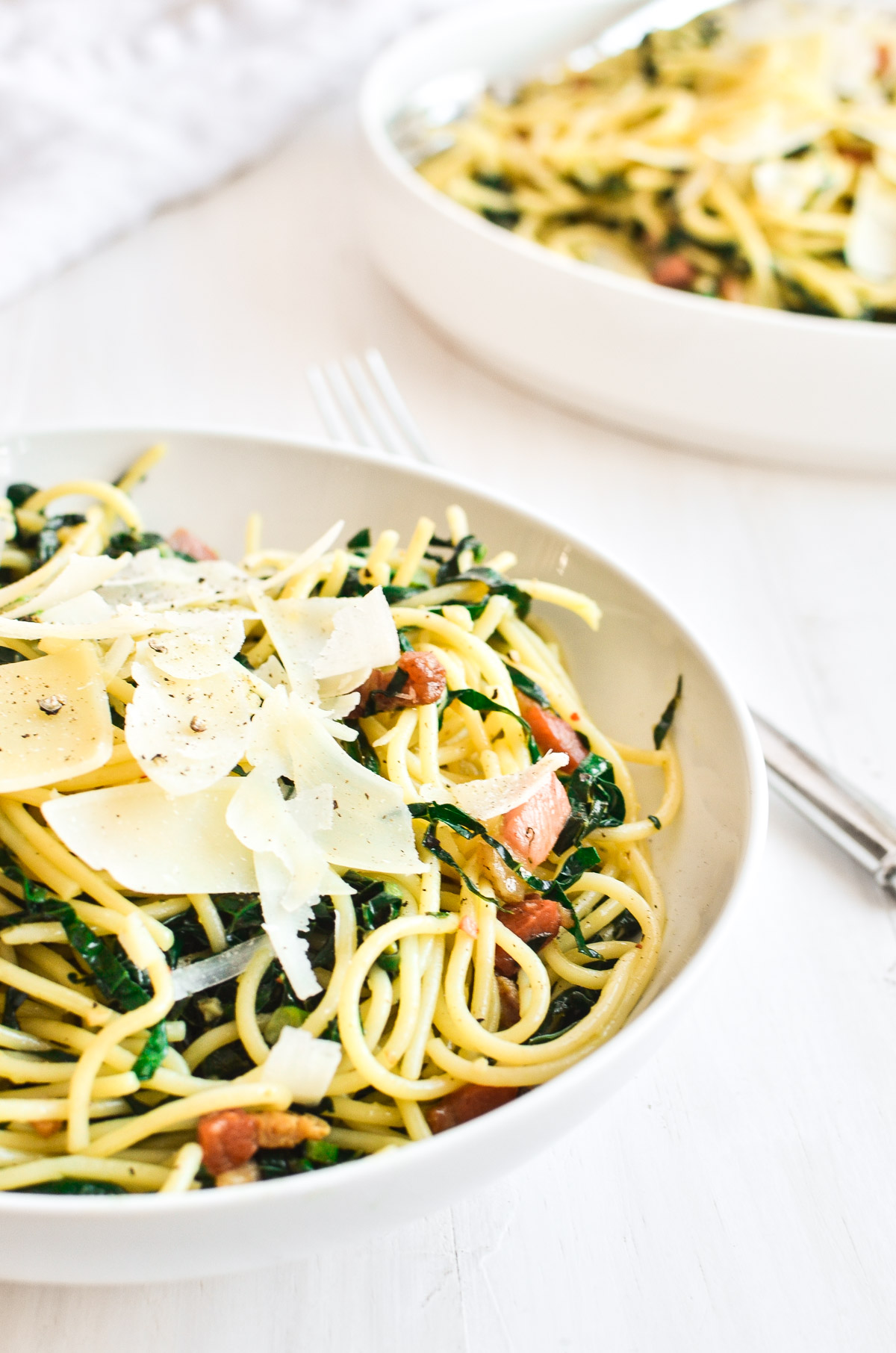 A bowl of Kale and Pancetta Pasta.