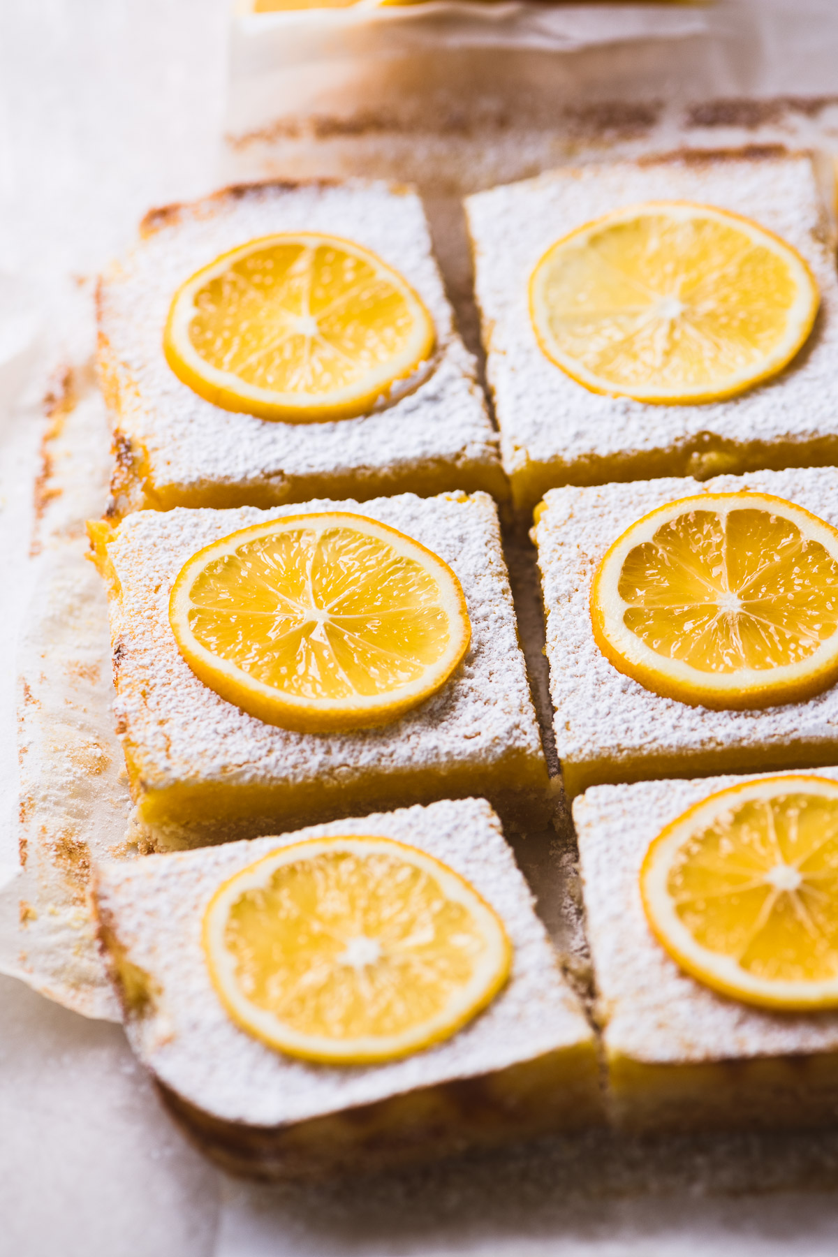 Whole meyer lemon bars, sliced into squares